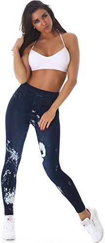 SL1 Damen High-Waist Jeggings Hoher Bund Leggings Jeans-Look Farbkleckse Musterung Print Stretch Washed-Optik (34/36/38) Shadow Face