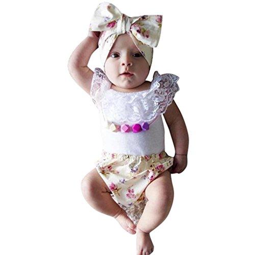 Saingace Baby-Drei-teiliges Set Mädchen-Spitze mit Rüschen Höschen Briefs Blumen Pant Set Kinderkleidung Kleidung Outfits Bekleidungssets (S) (3-teiliges Höschen Rüschen)