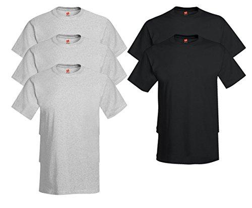 Hanes Men's Tagless Comfortsoft Crewneck T-shirt (Pack of 5) 3 Ash / 2 Black