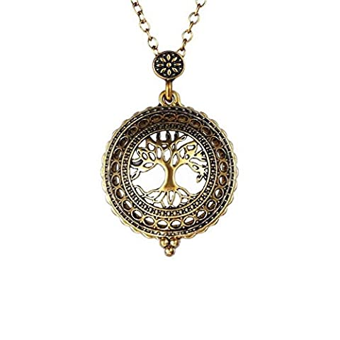 Z&YQ Collier pendentif cinq fois Vintage Magnifying Glass Word Map Tree Elephant Pocket Watch Time Collar , gold , one size