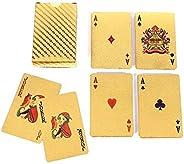 24K Gold Playing Cards Poker Game Deck Gold Foil Poker Set Plastic Magic Card Waterproof Cards Magic Gambling