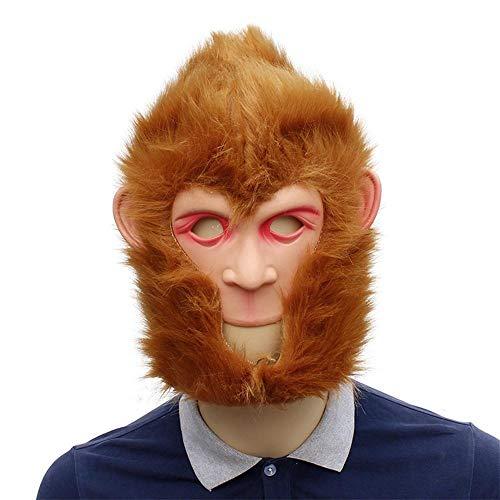QJKai Sun Wukong Affenkönig Travel West Performance Maske Kopfbedeckungen Affenkopf Kleidung Latex Künstliche Haar Straße