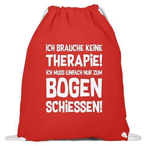 shirt-o-magic Archery: Therapie? Bogenschießen! - Baumwoll Gymsac -37cm-46cm-Hellrot