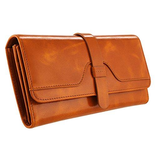 Kattee Damen RFID Blockierung Trifold Leder Geldbörse Vintage Große Kapazität Brieftaschen Braun