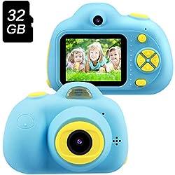 TekHome 2019 - Cámara Digital para niños con Pantalla de 8 MP 1080P y Tarjeta de Memoria de 32 G y Correa, Juguetes para niños de 4 a 6 años, Regalos de cumpleaños para niños de 3 a 12 años