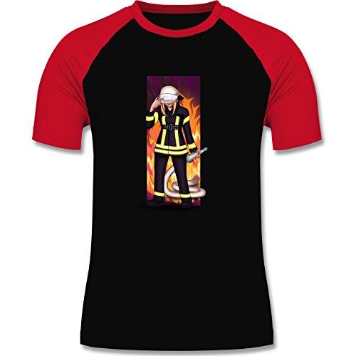 Feuerwehr - Coole Feuerwehrfrau - zweifarbiges Baseballshirt für Männer Schwarz/Rot