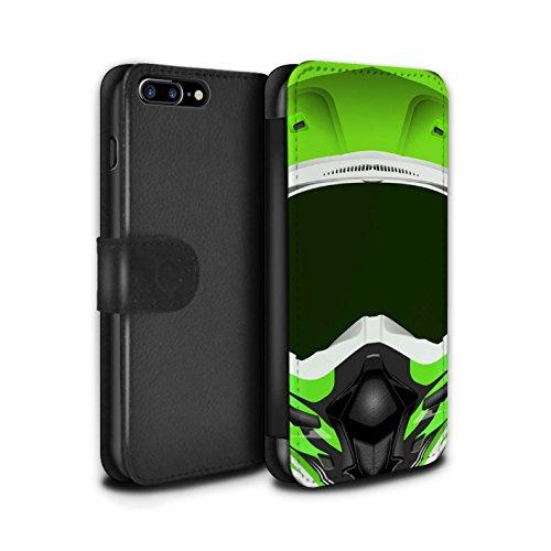 STUFF4 PU-Leder Hülle/Case/Tasche/Cover für Apple iPhone 5C / Motocross/Rot Muster / Motorradhelm Kollektion Motocross/Grün