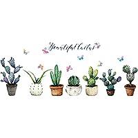 cactus etiqueta de la pared plantas en maceta calcomanía de pared plantas tropicales verdes novedad decorativos de vinilo arte de la pared mural para vitrina gabinete sala de estar oficina sala de niños