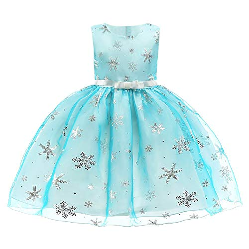 IZHH Mädchen Prinzessin Tutu Kleider, Baby Blumendruck Brautjungfer Pageant Kleid Geburtstag Party Ärmellos Formelle Kleidung Kinder Sleeveless Bow Puff Kleid(Z-Blau,140)