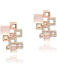 Silver Shoppee Immaculate 21K Rose Gold Plated Crystal and Opal Studded Alloy Earrings for Girls and Women