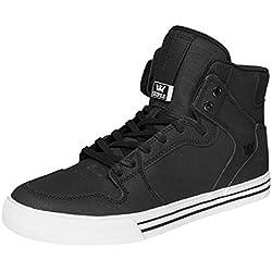 Supra Mens Vaider Black White Skate Shoes