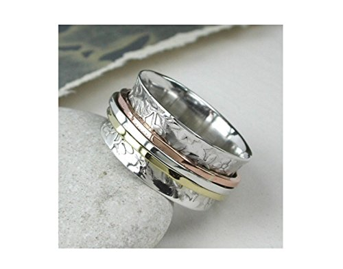 925 Solid Sterling Silver Spinning Ring..Thumb/Finger Worry Ring 3 band Spinner