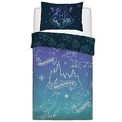 Sleepdown Juego de Funda de edredón Reversible de polialgodón con diseño de Harry Potter Warner Brothers, Suelto