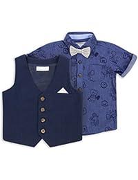 The Essential One - Baby Kinder Jungen Weste, Krawatte und Hemd Set - Marineblau - EOT217