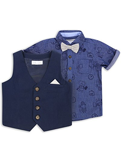 The Essential One - Bebé Infantil Niños Camisa, Chaleco y Corbata Equipar / Set - 9-12 M - Azul de Mar - EOT217