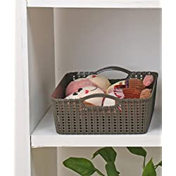 Storage Basket for Kitchen Bathroom By House of Quirk Plastic Bins Organiser with Handles (BROWN)