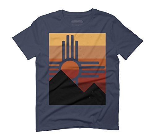 retro zia sunset mountain abstract Men's Graphic T-Shirt - Design By Humans Navy