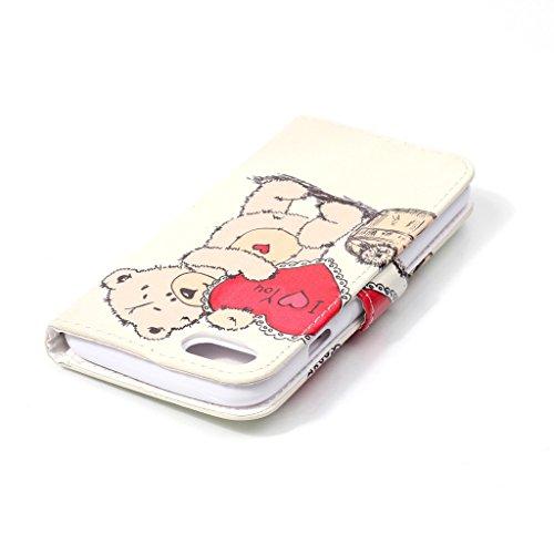 Uming® Il modello della stampa della custodia per armi variopinta della copertura Holster Cover Case ( Glasses cat - per IPhone 7 7G IPhone7G IPhone7 ) Flip-artificiale in pelle con staffa supporto de Love Bear
