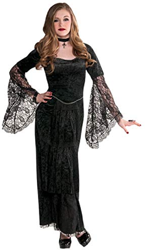 Girls Teens Long Black Gothic Temptress Creepy Spooky Halloween Fancy Dress Costume Outfit 12-16 Years (14-16 Years)