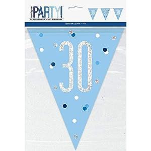Unique Party- Bandera, Color blue & silver (83439)