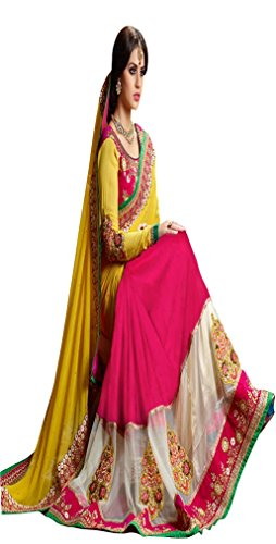 Sunshine Fashion Pink Color Georgette,Velvet Fabric Embroidery Saree ( New Arrival Latest...