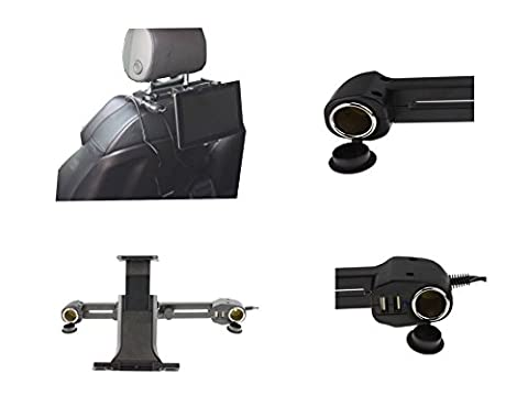 Navitech USB port 4.2A headrest mount with integrated car charger for the Super tab 10.2, Curtis DVD7014UK Portable 7 inch DVD Player, Goodmans PDV310, Toshiba SDP97, Koolertron 9 Inch Portable DVD