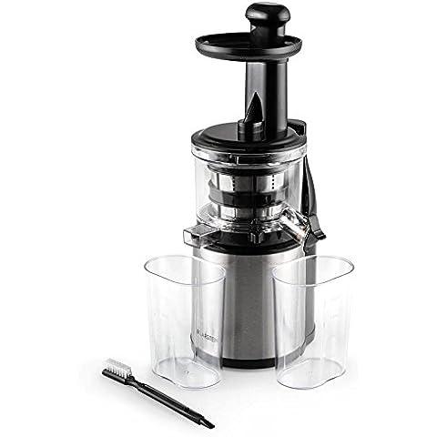 Klarstein Flowjuicer exprimidor (200 W, 80 rpm, microtamiz, desmontable, acero inoxidable)