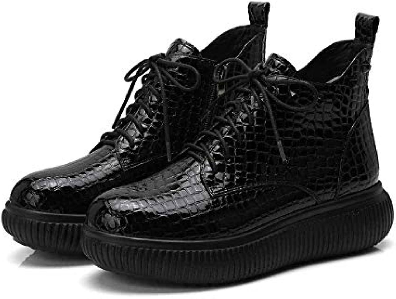 WANG-LONG WANG-LONG WANG-LONG Stivali da Donna Martin Moda Casual in Microfibra Autunno Inverno Traspirante Antiscivolo,nero-36 | Stile elegante  17dff1