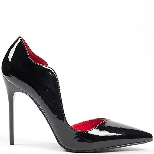 Ideal Shoes–Escarpins semiaperti con punta appuntita e verniciato Demy Nero