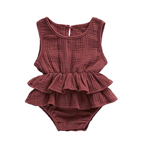 BeautyTop 3-24 Monat Kleinkind Baby Mädchen Outfits Einfarbig Strampler Ärmellos Spielanzug Baby Toddler Kinder Strampler Baby Neugeborenes Kinderkleidung (Kaffee#1, 6-12 Months) - 12mo-outfit