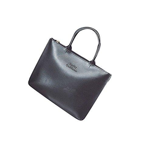 Longra Adatti a donne di cuoio della borsa a tracolla singola Nero