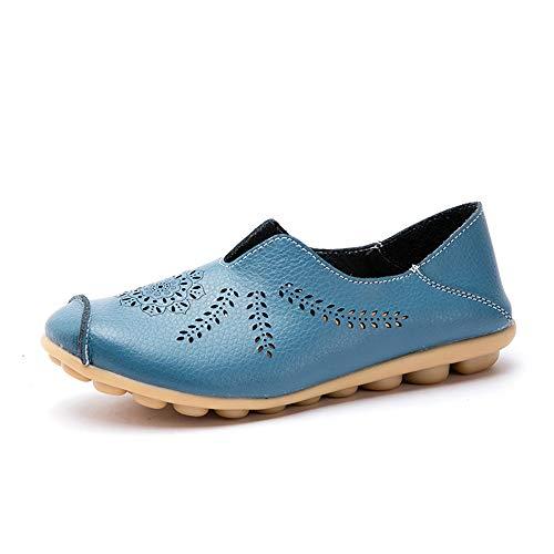 Mocasines de Cuero Mujer Casual Zapatos de Conducción Moda Loafers Verano Planos Zapatillas del Barco...