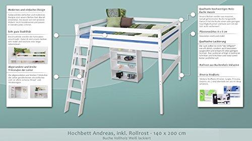 Hochbett Andreas Buche massiv weiß lackiert, inkl. Rollrost, Maße 140 x 200 cm