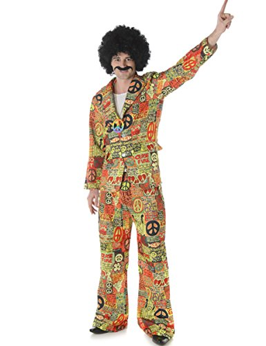 Psychedelic Peace Suit for Men's Hippie Fancy Dress. Three sizes - M, L or XL