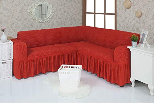 Mixibaby Eck Sofabezug Sofahusse Sesselbezug Sitzbezug Sesselüberwurf Stretchhusse Sofahusse, Farbe:rot