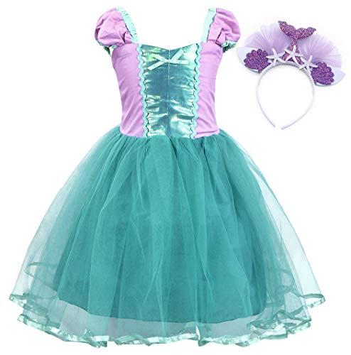 (AmzBarley Prinzessin Kleine Meerjungfrau Kostüm Kinder Mädchen Ariel Tutu Kleid Party Cosplay Schick Kleider Halloween Karneval Geburtstag Ankleiden Kleidung Festzug Urlaub)