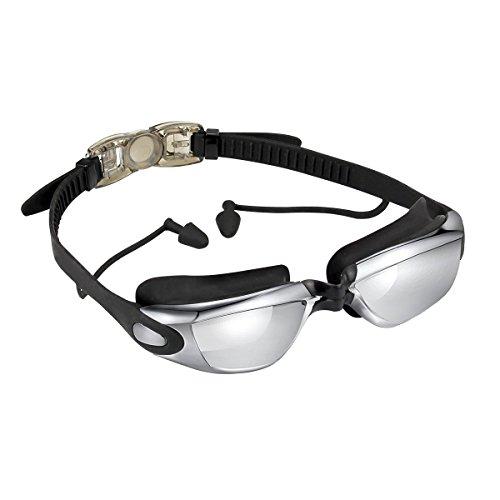 RRunzfon Schwimmbrille mit Ohrstöpsel, Anti-Fog, UV-Schutz Spiegel Schwimmbrille für Erwachsene Herren Frauen Youth Kid Kind Schwimmen, Brillen + Fall + Nase Clip + Ear Plugs