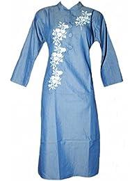 Jyoti Fancy Women's Denim Kurti [neck Embroedery]