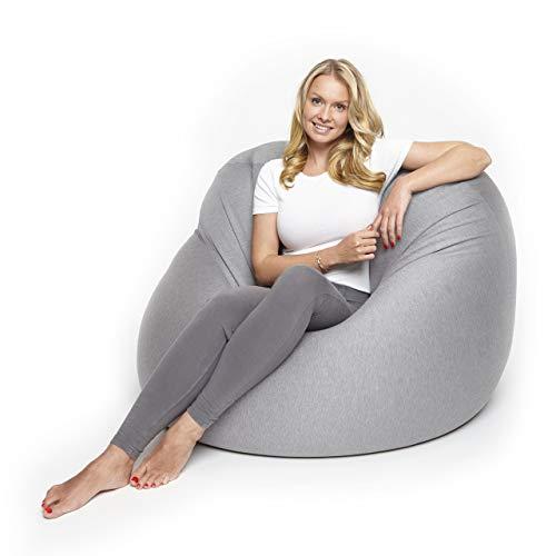 Lumaland Flexi Comfort Sitzsack Premium Bean Bag Sitzkissen Big 155 x 100 cm Hellgrau