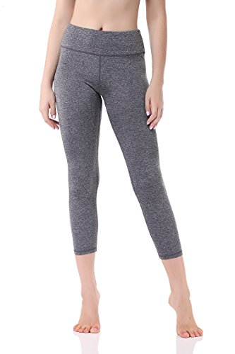 Pau1Hami1ton Damen Leggings 3/4, Sporthose Fitnesshose Training Laufhose Sport Tights Hohe Taille Yogahose GP-07(Grey,XL)