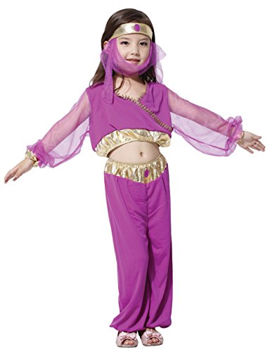 Lukis Mädchen Bauchtanz Kostüme Indischer Tanz Kleid Halloween Karneval Lila Körpergröße 110-120cm (Kostüme Indischen Tanz)