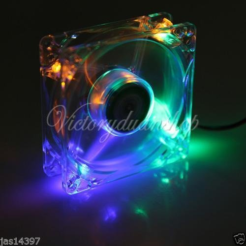 LED Rainbow Color 120mm 4Pin CPU Heatsink Cooling Cooler Case Fan Computer PC