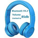 Auriculares Bluetooth para niños, Hisonic Auriculares Plegable para niños con Volumen Limitado Compatible con iPhone,iPad Mini, iPad,PC,MP3 y más Dispositivos Bluetooth, niños (Azul 01)
