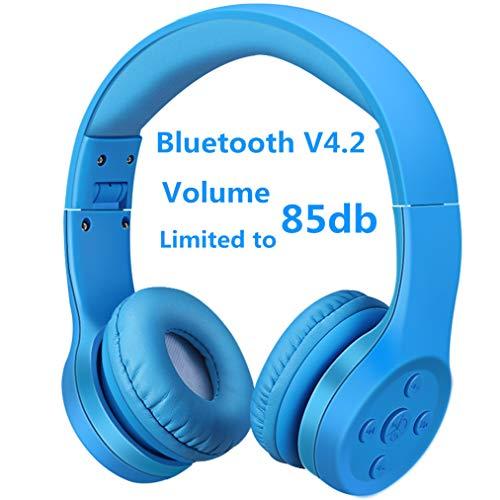 Bluetooth Kopfhörer Kinder, Hisonic Leicht kopfhörer Bluetooth Kopfhörer für Kinder mit Laustärkebegrenzung Verstellbare Leicht Tragbare kopfhörer auch Mikrofon Funktion. (Blau 01) -
