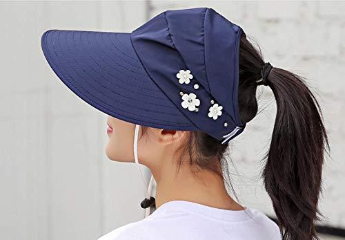 hüte für Frauen visiere Hut Angeln Strand Hut Anti-uv Schutz Pferdeschwanz caps ohne top breiter krempe Hut 56-58cm ()