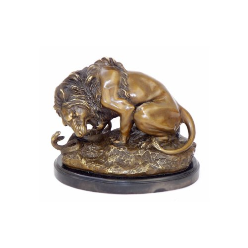 Kunst & Ambiente Antoine-Louis Barye - Lion and Serpent - Löwe mit Schlange - signiert - Skulptur - Bronzefigur Kaufen