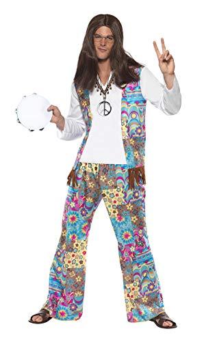 Hippie Männer Kostüm - Schicker Hippie Kostüm Oberteil mit angesetzter Weste Hose und Haarband, Large