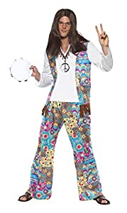 """Smiffys-38628M Disfraz de Hippy Guay, Top con Chaleco Unido, Pantalones y Cinta para la Cabeza, Multicolor, M-Tamaño 38""""-40"""" (Smiffy"""