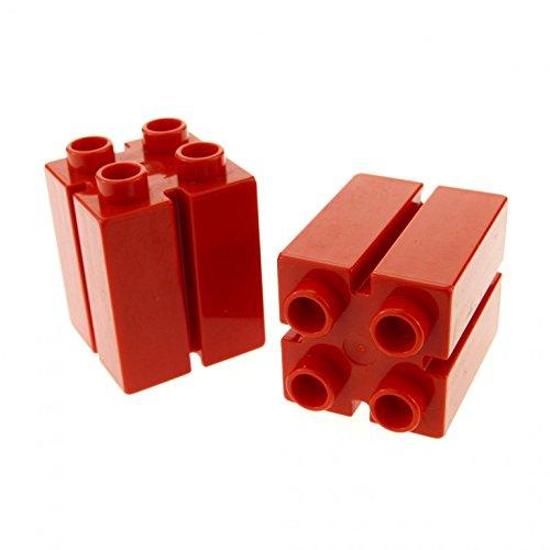 2 x Lego Duplo Bau Stein rot 2x2x2 mit Führung Nut Säule für Tor Bauernhof Feuerwehr Eisenbahn Ferrari 41978
