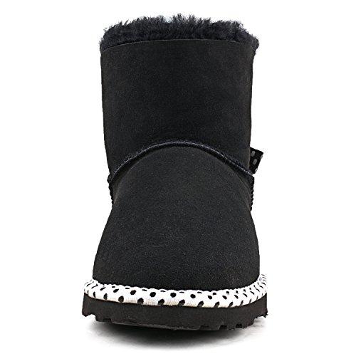 Shenduo - Boots fourrées de mouton femme, Bottes de neige & hiver cuir doublure chaude de laine D5079 Noir
